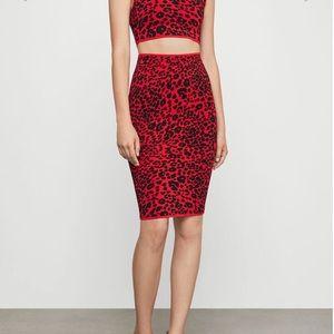 Leopard knit pencil skirt